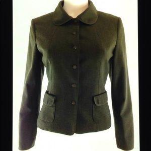 Talbots Petites Stretch Wool Lined Button Blazer